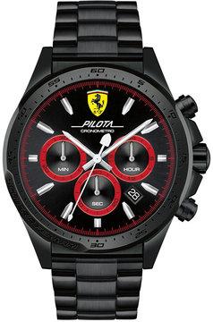 Ferrari Men's Chronograph Pilota Black Stainless Steel Bracelet Watch 45mm 0830390