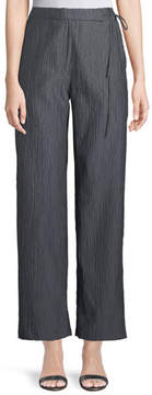 Emporio Armani Side-Tie Straight-Leg Crinkle Cotton Pants
