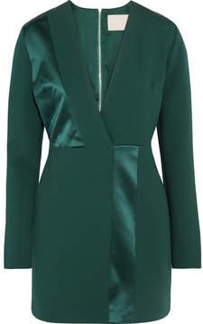 Dion Lee Silk Satin-paneled Jersey Mini Dress - Emerald