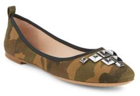 Marc Jacobs Cleo Studded Camouflage Flats