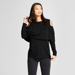 Notations Women's Ruffle Front Cold Shoulder Pullover Sweater Black