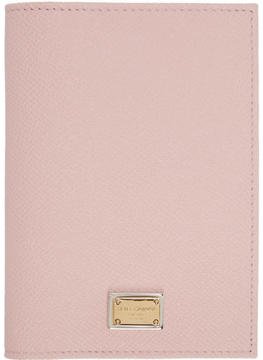 Dolce & Gabbana Pink Leather Passport Holder - PINK - STYLE