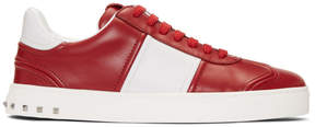 Valentino Red and White Garavani Fly Crew Sneakers