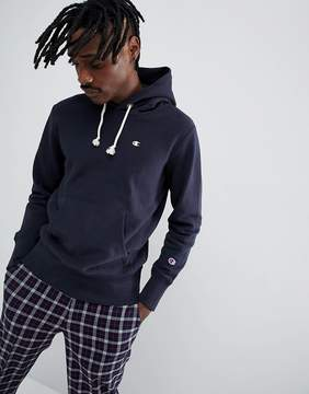 Champion Hoodie With Small Logo In Navy