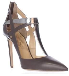 Alejandro Ingelmo Tara Pointed-toe T-strap Heels, Haze/silver.