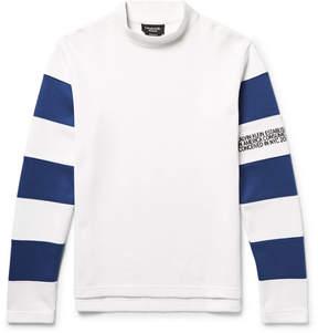 Calvin Klein Embroidered Striped Cotton-Jersey Mock-Neck Sweatshirt