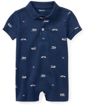 Ralph Lauren | Cotton Interlock Polo Shortall | 18-24 months | Summer navy multi
