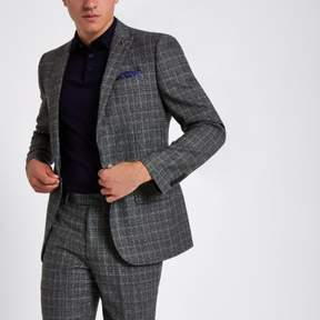 River Island Mens Grey heritage check slim fit suit jacket
