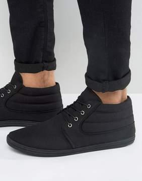 Asos Chukka Boots In Black Canvas