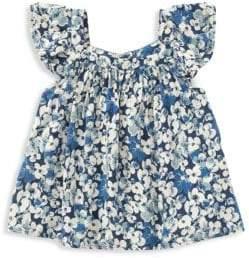 Ralph Lauren Little Girl's Floral Flutter-Sleeve Top