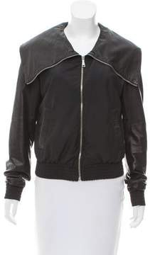 Gianfranco Ferre GF Leather-Trimmed Zip Front Jacket