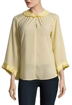 Ellen Tracy Pleated Three-Quarter Sleeve Top