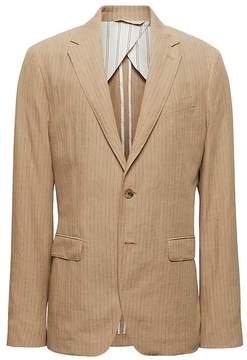 Banana Republic Heritage Slim Pinstripe Italian Linen Suit Jacket