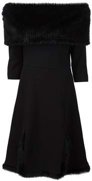 Christian Siriano fur detail off the shoulder dress