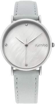RumbaTime Lafayette Silvertone Light Blue Leather Strap Watch