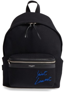Saint Laurent Signature Embroidered Canvas Backpack - Black - BLACK - STYLE