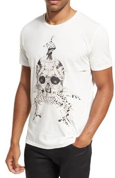 Just Cavalli Feather Skull Cotton Crewneck T-Shirt