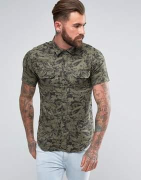 Replay Regular Fit Short Sleeve Leaf Print Shirt