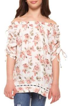 Dex Girl's Off-The-Shoulder Floral Top