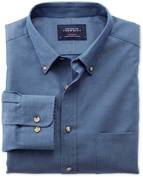 Charles Tyrwhitt Extra Slim Fit Non-Iron Twill Blue Cotton Casual Shirt Single Cuff Size Medium