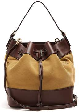 Loewe Midnight smooth leather-trimmed suede bucket bag