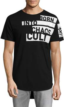 Cult of Individuality Men's Long Scoop Crewneck Cotton Tee