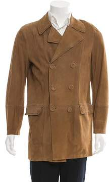 Roberto Cavalli Double-Breasted Suede Coat