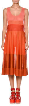 Agnona Viscose Knit Ombre Colorblocked Flared Tank Dress