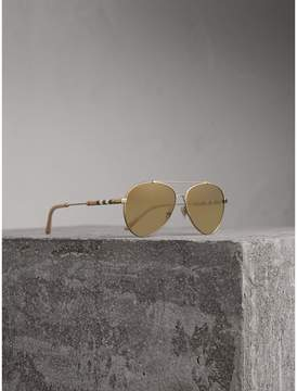 Burberry Check Detail Mirrored Pilot Sunglasses