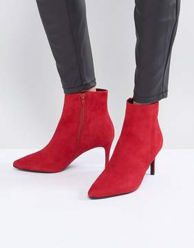 Dune London Pull on Heeled Sock Boot in Red Suede