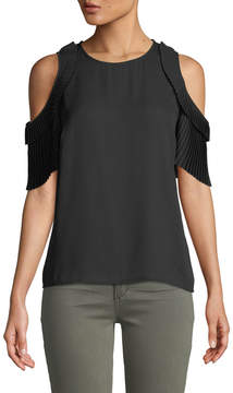 Cynthia Steffe Cece By Cold-Shoulder Pleated-Sleeve Blouse