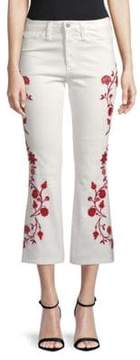 AG Adriano Goldschmied Jodi Embroidered Flared Cropped Jeans