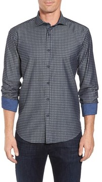Bugatchi Men's Shaped Fit Houndstooth Print Sport Shirt