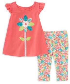 Kids Headquarters Baby Girls' Two-Piece Floral Embroidered Shirt and Capri Pants Set