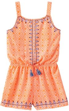 My Michelle Girls 7-16 Printed Embroidery Trim Romper