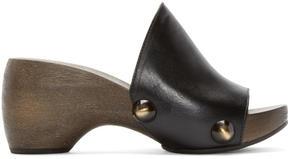 Chloé Black Wooden Clog Heels