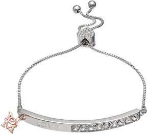Brilliance+ Brilliance Two Tone Mom Charm Bolo Bracelet with Swarovski Crystals