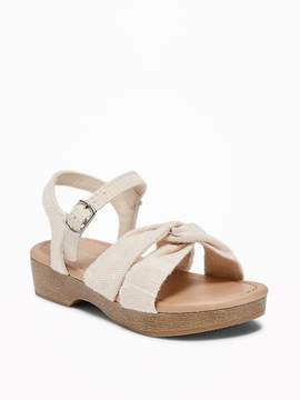 Old Navy Linen Cross-Strap Clog Sandals for Toddler Girls