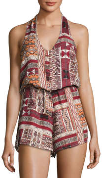 Bishop + Young Desert Print Halter Romper, Multi Pattern