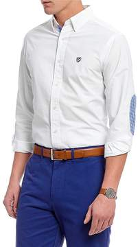 Daniel Cremieux Solid Lightweight Oxford Plaid Elbow Patch Long-Sleeve Woven Shirt