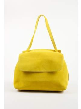 The Row Pre-owned Yellow Suede Top Handle sidekick Flap Bag.