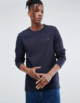 Farah Westland Slim Fit Long Sleeve T-Shirt In Navy