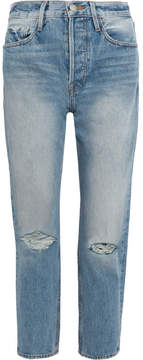 Frame Rigid Re-release Le Original Distressed High-rise Straight-leg Jeans - Blue