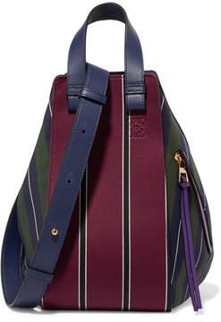 Loewe Hammock Leather-trimmed Striped Canvas Shoulder Bag - Navy