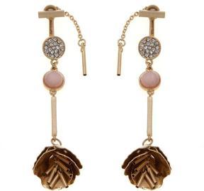 Danielle Nicole Risa Goldtone Petal Dangle Front-to-Back Drop Earrings