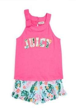 Juicy Couture Girl's Two-Piece Logo Top and Printed Shorts Set