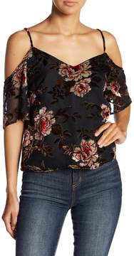 Cupcakes And Cashmere Jovelyn Floral Velvet Cold Shoulder Top