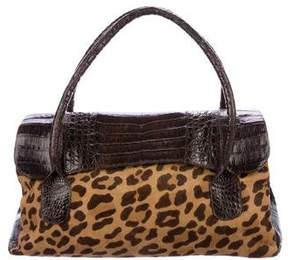 Nancy Gonzalez Crocodile-Trimmed Ponyhair Shoulder Bag