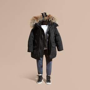 Burberry Fur-Trimmed Down-Filled Hooded Puffer Coat