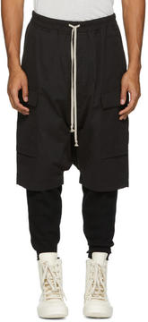 Rick Owens Black Water-Repellent Cargo Pods Shorts